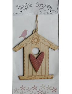 Nichoir en bois - beige avec coeur rose