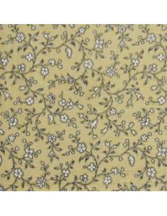 Tissu Patchwork - Petites fleurs - écru sur fond beige