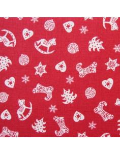 Tissu Patchwork - Sapins, étoiles et chaussettes de Noël