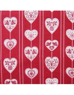 Tissu Patchwork - Coeurs - écru sur fond rouge