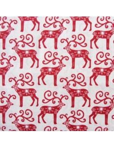 Tissu Patchwork - Rennes - rouge sur fond écru
