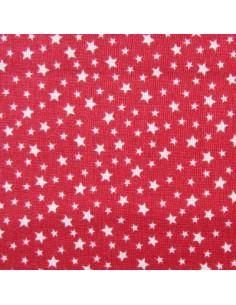 Tissu Patchwork - Étoiles écrues sur fond rouge