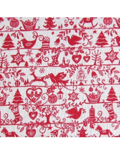 Tissu Patchwork - Silhouettes rouges sur fond écru
