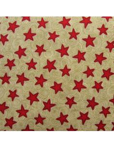 Tissu Patchwork - Étoiles rouges sur fond beige