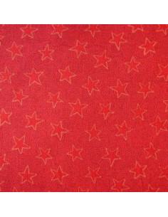 Tissu Patchwork - Étoiles rouges sur fond rouge