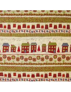 Tissu Patchwork - Maisons et motifs de Noël