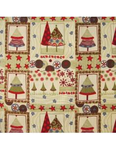 Tissu Patchwork - Sapins et motifs de Noël