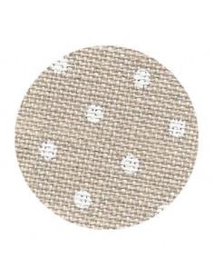 Toile de lin Zweigart Edinburgh coloris 5379 - Pois blancs