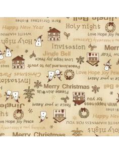 Tissu Patchwork - Noël - Merry Christmas - beige