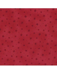 Tissu Patchwork - Noël - Étoiles - bordeaux