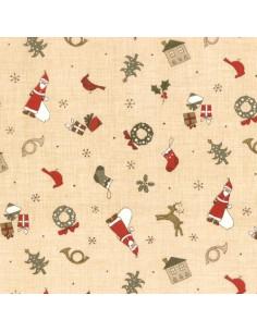 Tissu Patchwork - Noël - Petits motifs de Noël - beige et rouge