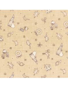 Tissu Patchwork - Noël - Petits motifs de Noël - beige