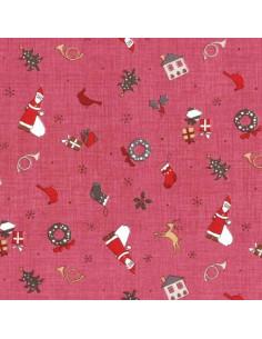 Tissu Patchwork - Noël - Petits motifs de Noël - bordeaux