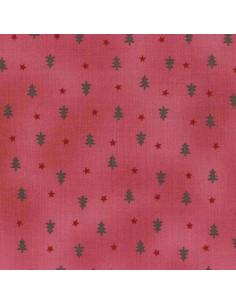 Tissu Patchwork - Noël - Sapin et Étoiles - bordeaux