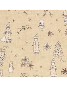 Tissu Patchwork - Noël - Grands motifs de Noël - beige