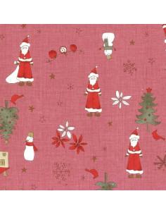Tissu Patchwork - Noël - Grands motifs de Noël - bordeaux
