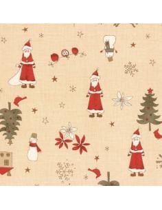 Tissu Patchwork - Noël - Grands motifs de Noël - beige et rouge