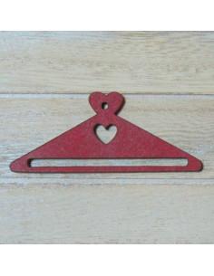 Mini cintre en bois - coeur rouge - 68 mm