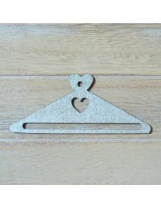 Mini cintre en bois - coeur gris - 68 mm