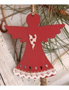 Déco de Noël à suspendre - Ange, bois rouge