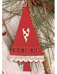 Sapin de Noël à suspendre - bois rouge