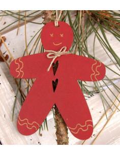 Déco de Noël à suspendre - Pain d'épices, bois rouge