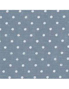 Toile de lin Zweigart Belfast coloris bleu-gris 5269 - Pois blancs