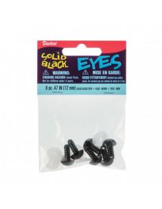 Yeux à cliper - Noir - 12 mm - 6 pièces