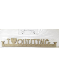 Cintre en bois - I love quilting - beige - 27 cm