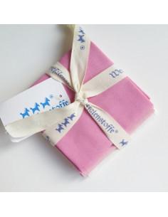Lot de 3 coupons de tissus Westfalenstoffe - Wild Berry rose et blanc