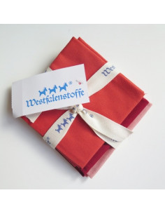Lot de 3 coupons de tissus Westfalenstoffe - Herzenswärme Orange et bordeaux