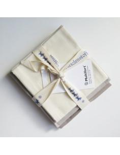 Lot de 3 coupons de tissus Westfalenstoffe - Herzenswärme écru et taupe