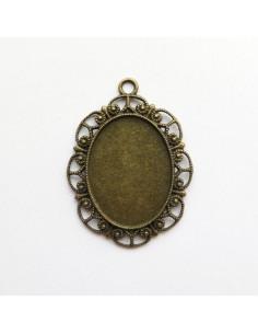Pendentif oval coloris bronze antique - 62 x 47 mm