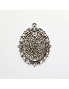 Pendentif oval coloris argent antique - 62 x 47 mm