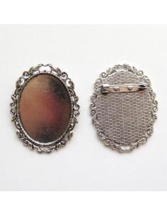 Broche ovale coloris argent antique - 51 x 40 mm