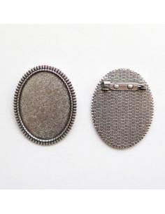 Broche ovale coloris argent antique - 47 x 37 mm