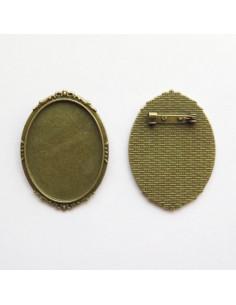Broche ovale coloris bronze antique - 47 x 35 mm