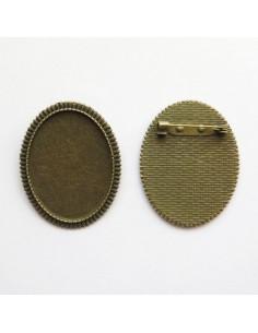 Broche ovale coloris bronze antique - 47 x 37 mm