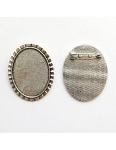 Broche ovale coloris argent antique - 47 x 38 mm
