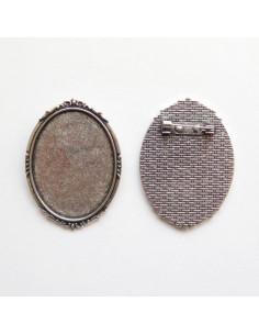 Broche ovale coloris argent antique - 47 x 35 mm