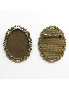 Broche ovale coloris bronze antique - 50 x 40 mm