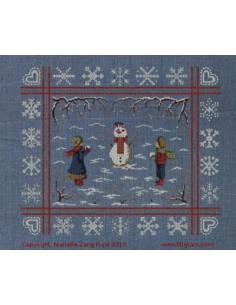 Filigram - fiche - Bonhomme de neige et flocons