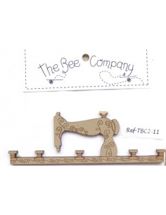 Cintre en bois - machine à coudre - 11.5 cm de large - beige