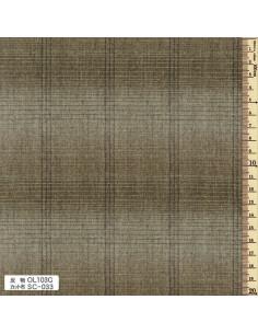Tissu japonais tissé - ligné - vert