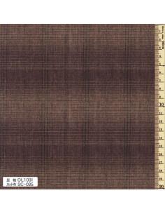 Tissu japonais tissé - ligné - brun