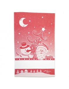 Graziano - Linge/torchon - Bonhomme de neige et Père-Noël - rouge