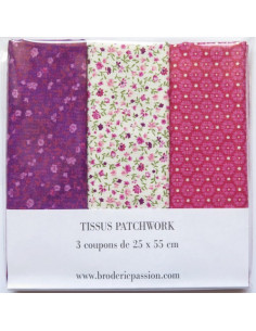 Lot de 3 coupons de tissus - violet, blanc à fleurs et rose