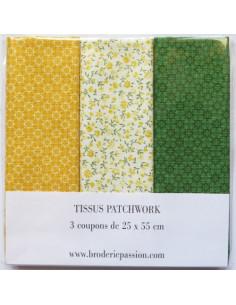 Lot de 3 coupons de tissus - jaune, blanc à fleurs et vert