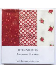 Lot de 3 coupons de tissus - bordeaux, rouge et blanc