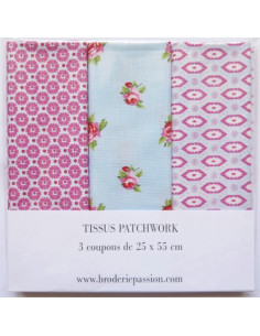 Lot de 3 coupons de tissus - bleu et rose
